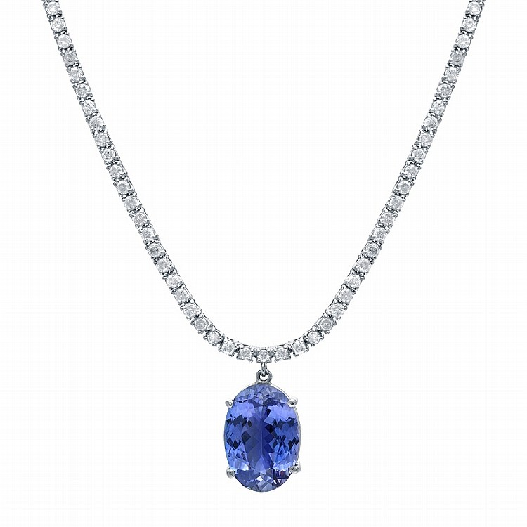 Diamond and 7.16tcw. Tanzinite Necklace