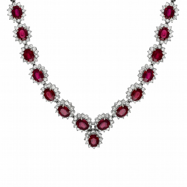 Stunning Ruby & Diamond Necklace 17.58 & 75.19 TCW