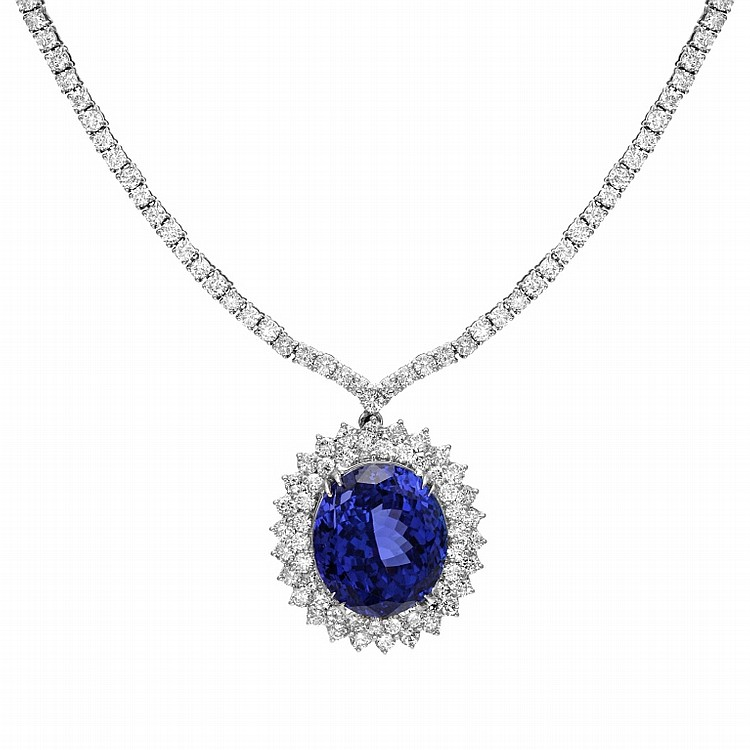 14K 11.42ct Diamond & 26.35 Tanzanite Necklace