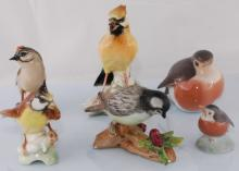 Collection Set of 6 Hand Painted Porcelain Birds