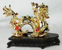 Bejeweled Gold Porcelain Asian Dragon