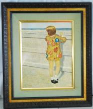 Francis Woodhal, Little Girl at Seawall, Watercolo