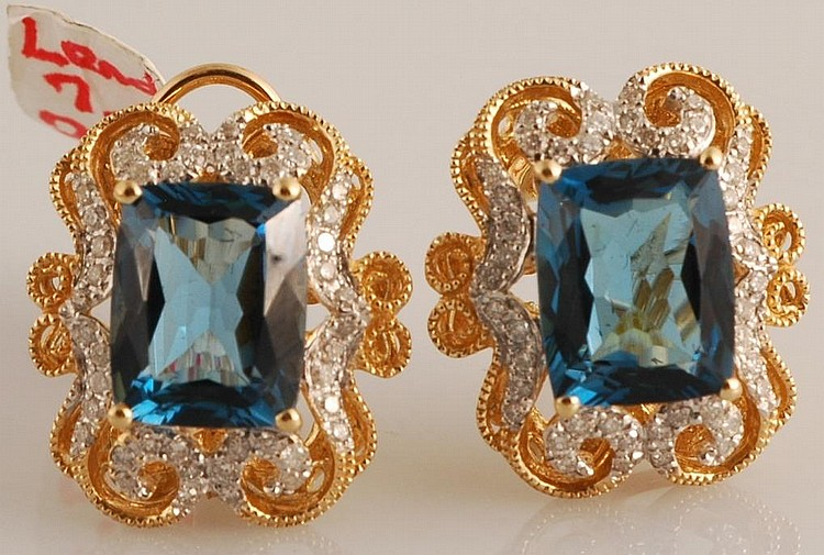 7.55ct Topaz and Diamond Earrings