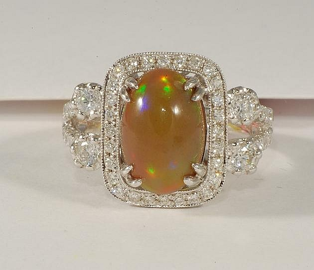 2.71 ct Opal and 1.08 ct Diamond Ring in White Gold