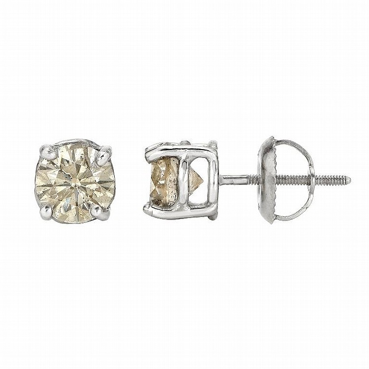 14K White Gold, 1.70ct Diamonds Stud earrings
