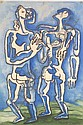 ZADKINE, OSSIP 1890-1967 Les Deux Amis. Les Memoires des Belles signed and dated 1960, gouache over a lithograph, 63 by 43 cm. Certificate of