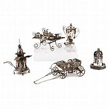 A COLLECTION OF MINIATURE SILVER DOLLS HOUSE ACCESSORIES    RUSSIAN, VARIOUS MAKERS, MOSCOW, MID 19TH CENTURY, 84 STANDARDS