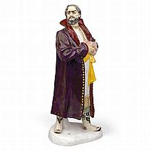 A SOVIET PORCELAIN FIGURINE OF BORIS GODUNOV -   RUSSIAN, AFTER A 1922 MODEL BY YAKOV TROUPYANSKY, STATE PORCELAIN MANUFACTORY, SCULPTED BY ANATOLY LUKIN, LENINGRAD, 1929