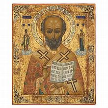 *ST NICHOLAS THE WONDER-WORKER -   RUSSIAN, MSTERA, LATE 19TH CENTURY