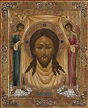 * THE HOLY FACE (KHLYNOVSKY MANDYLION) -   RUSSIAN, MSTERA, LATE 19TH CENTURY