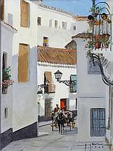 Harry Worthman(Am. 1909-1989), Spanish Street Scen