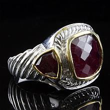 Sterling and Gold Ruby Ring