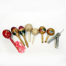 Lot of Assorted Mexican Maracas & Ratchet