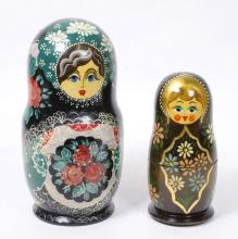 Two Hand Painted & Signed Nesting Dolls