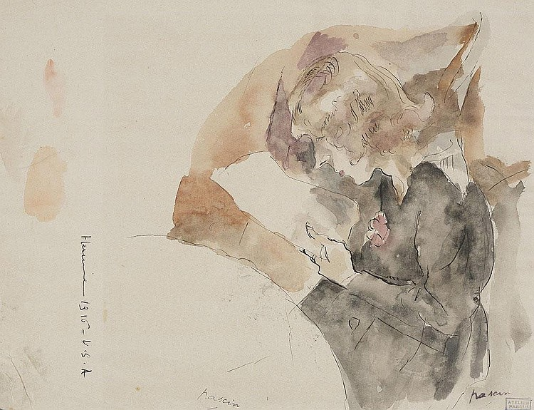 Jules Pascin, Portrait d'Hermine David watercolour