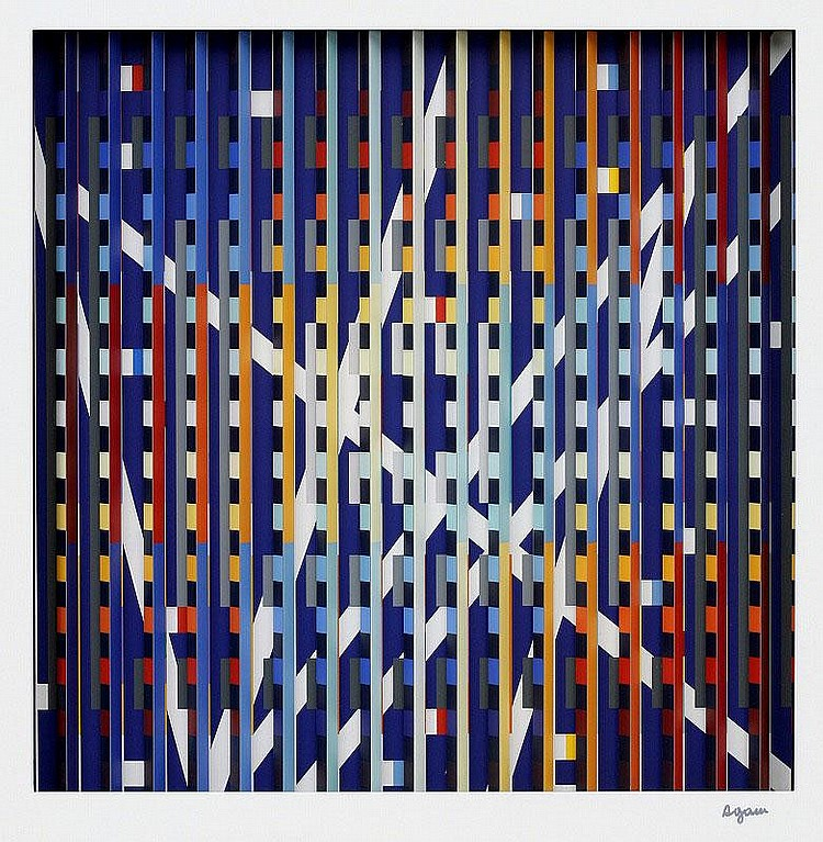 Yaacov Agam, Work mixed media, signed in ink,