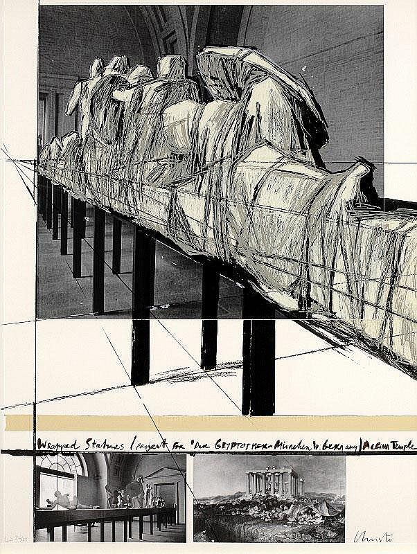 Christo Javacheff, Wrapped Statues / Project for 'Der Glyptotmer Munchen, W. Germany' (S &B.135; )