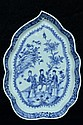 $1 Chinese Blue and White Dish Figure 18th C