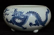 $1 Chinese Blue White Dragon Incense Burner 18thC