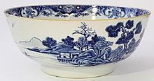 A Chinese blue and white export porcelain bowl,