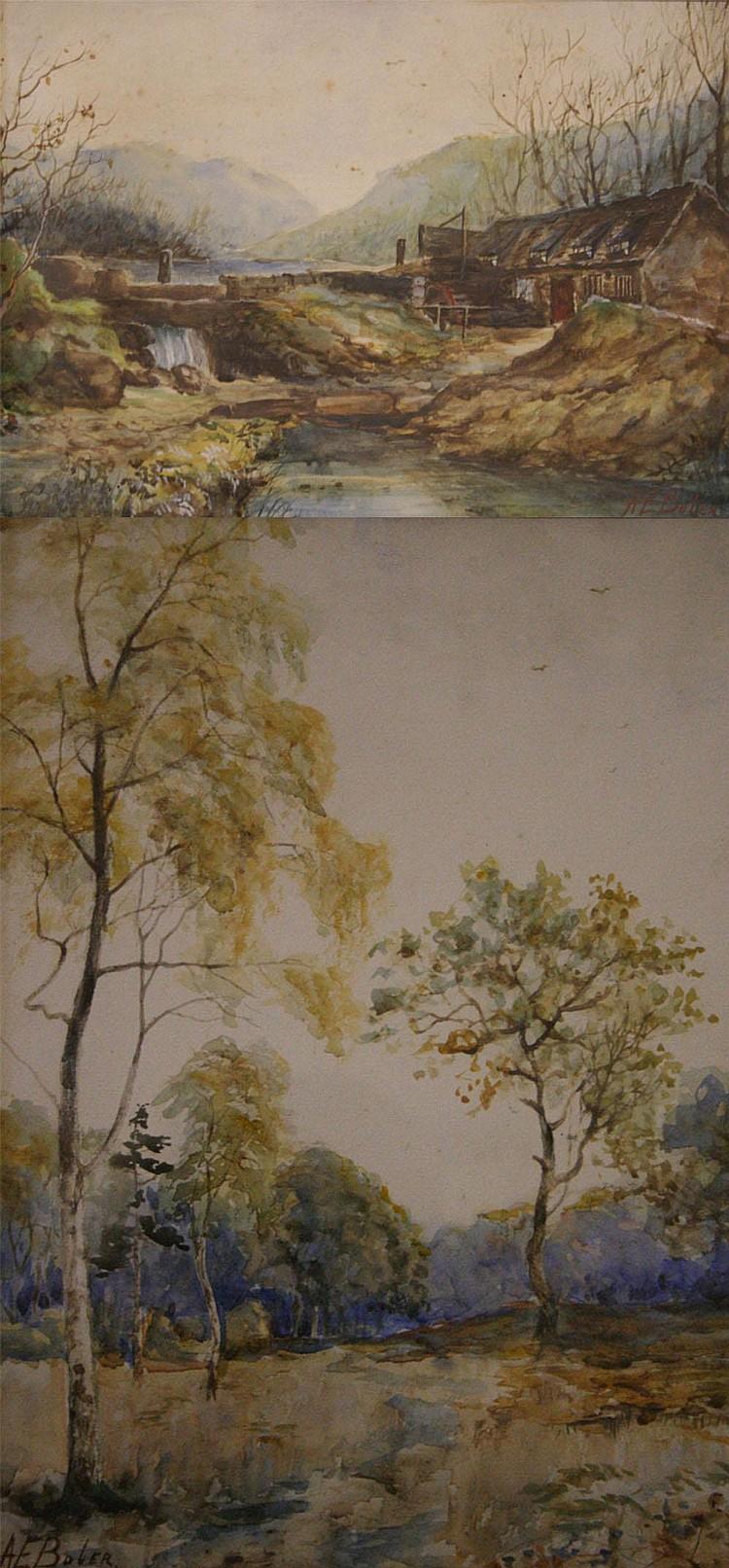 Albert Edward Boler (1865-1938); river landscape
