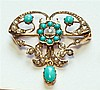 A late Victorian 9ct gold, seed pearl and turquoise pendant brooch maker H&W, hallmarked' '9CT'; together with a pair of 9ct gold,