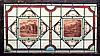A good Victorian stained glass window panel of rectangular shape,