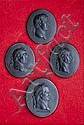 Four Wedgwood oval black basaltes portrait miniatures