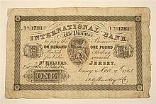 A Jersey International Bank one pound note dated November 9th 1865, serial number 1781, white paper,