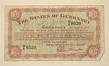 A States of Guernsey ten shilling banknote dated 1st March 1962, No. 14/X 0520, fair.