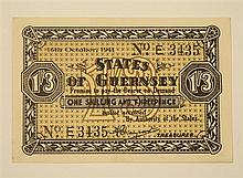 A States of Guernsey German occupation banknote denomination one shilling and threepence, dated 16th October 1941, No. E3435,