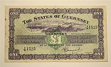 A States of Guernsey one pound banknote dated 1st August 1945, No. 1/W1525, fine.