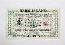 A Herm Island one pound coupon 1956, redeemable in many of the Island's tourist attractions at the time,
