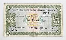 A States of Guernsey five pound banknote dated 1st March 1965, No. 2/Y 2077, very fine.