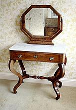 A late Empire mahogany dressing table Northern European, the white marble top surmounted by a hexagonal swing mirror on stand,