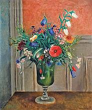 **Hasegawa Kiyoshi 1891-1980 (Japanese, French) Grand bouquet de fleurs oil on canvas