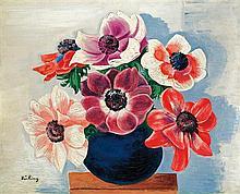 **Moןse Kisling 1891-1953 (Polish, French) Bouquet d'anיmones dans un vase, 1916 oil on canvas