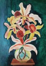 **Moïse Kisling 1891-1953 (Polish, French) Vase d'orchidées oil on canvas