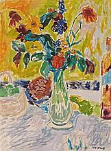 **Jean Jules Louis Cavaillès 1901-1977 (French) Vase aux fleurs oil on canvas