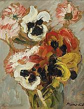 Manי Katz 1894-1962 (Ukrainian, French) Flowers oil on cardboard