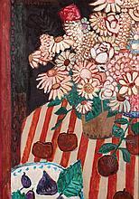 **Jean Pierre Cassigneul b.1935 (French) Nature morte aux figues et bouquet de fleurs oil on canvas