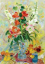 **Le Pho 1907-2001 (Vietnamese, French) Fleurs oil on canvas