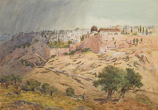 Henry Andrew Harper 1835-1900 (British) Jerusalem from the Bethlehem Road, 1899 watercolor on paper