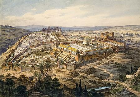 **Friedrich Perlberg 1848-1921 (German) Beit Hamikdash watercolor on paper