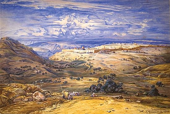 **Ernst Hildebrandt 1833-1924 (German) Jerusalem, 1852 watercolor on paper