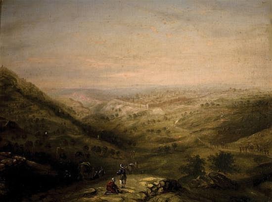 **William Henry Bartlett (Attributed) 1809-1854 (British) A camel train at Jerusalem oil on canvas