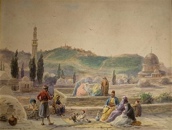 **Paul-Louis-Liger Chardin b.1833- (French) View over the Siloa Fountain to the Mount of Olives, Jerusalem watercolor on paper