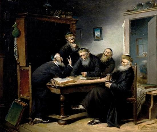 Carl Schleicher active 1859-1871 (Austrian) Talmudic discussion oil on panel