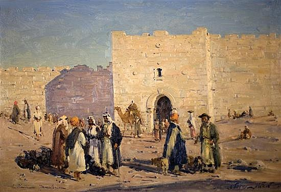 Ludwig Blum 1891-1975 (Israeli) Herrod's Gate, Jerusalem, 1946 oil on canvas