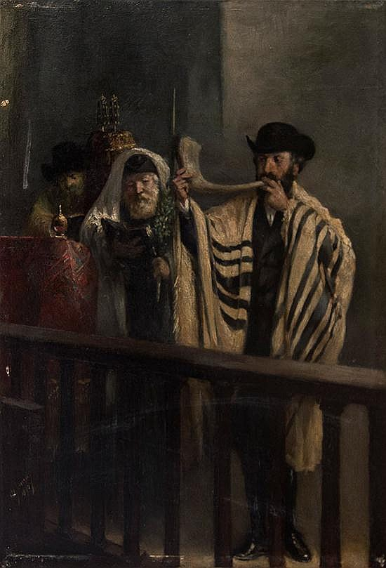 Abraham Henriques de Souza 1846-1912 (Dutch) Sukkoth blessings, 1890 oil on panel